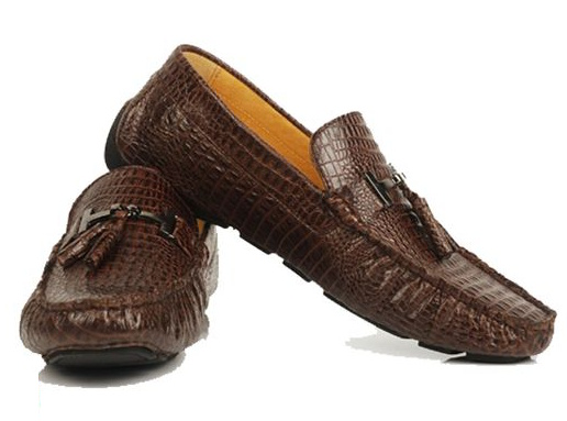 crocodile embossed leather shoes