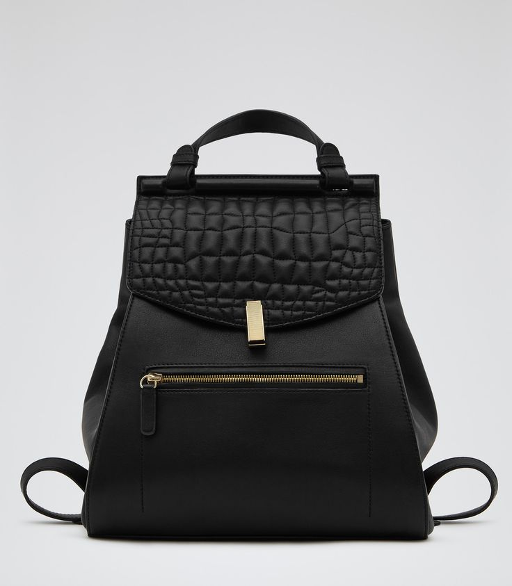 crocodile embossed leather backpack